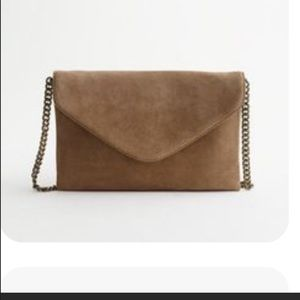 NWOT J. Crew Suede Tan Envelope Style Bag